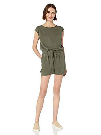 Daily Ritual Womens Tencel Short-Sleeve Romper, Dark Olive, 2