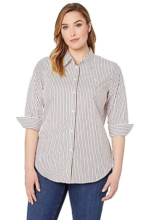 8ed806ffe Ralph Lauren Plus Size No-Iron Striped Button Down Shirt (White/Lipstick Red