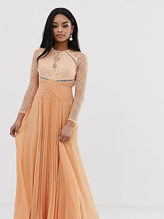 Asos Petite ASOS DESIGN Petite long sleeve lace panelled pleat maxi dress-Multi