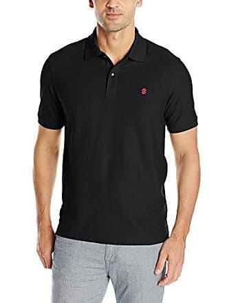Izod Mens Advantage Performance Slim Pique Polo Shirt, Black, Large