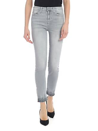7 For All Mankind High Waist Pyper Crop Jeans in gray