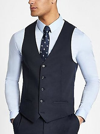 River Island Mens Navy single-breasted vest