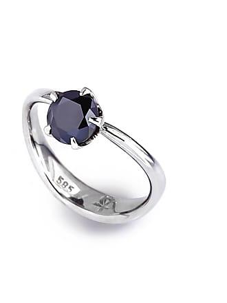 RIPA 14kt White Gold Molten Engagement Ring With Black Moissanite - UK K - US 5 - EU 50