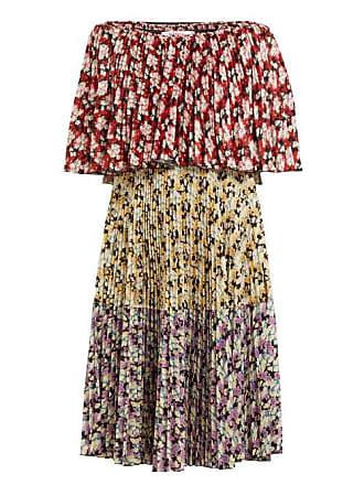 Valentino Spring Garden Print Pleated Dress - Womens - Multi 92fe378c13