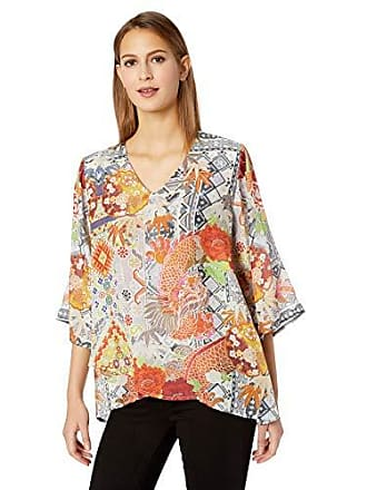 Johnny Was Womens V-Neck Crossover Scarf Blouse, Multi, M