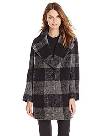 Kensie Womens Plaid Cocoon Wool Coat, Black/Charcoal, X-Small