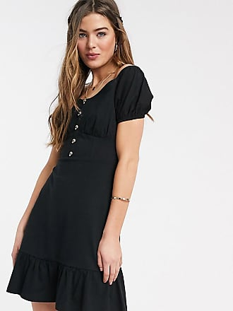 Asos Tall ASOS DESIGN Tall cupped off the shoulder tiered mini dress in black