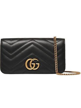140d150b87e5 Gucci Sac Porté Épaule En Cuir Matelassé Gg Marmont Mini - Noir