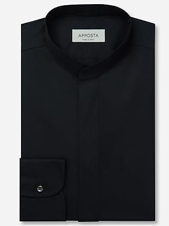 Apposta Camicia tinta unita nero 100% puro cotone popeline doppio ritorto giza 45, collo stile coreano senza bottone