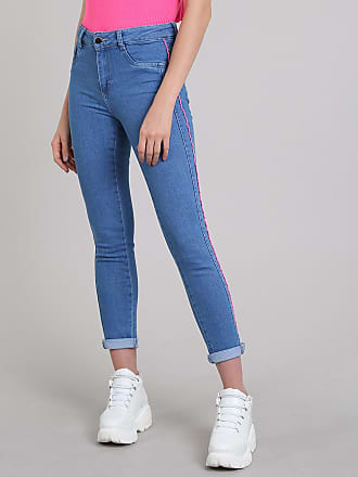 Sawary Calça Jeans Feminina Sawary Cigarrete com Vivo Contrastante Azul Médio