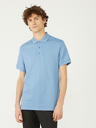 Burberry Polo homme en coton piqué et print check sous patte Bleu Burberry 608e2155378
