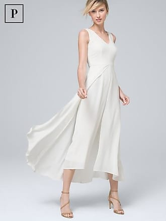 White House Black Market Womens Petite Sleeveless Overlay Jumpsuit by White House Black Market, Ecru, Size 00