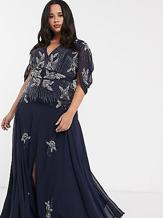 Asos Curve ASOS DESIGN Curve maxi dress with linear sequin and floral beading-Navy