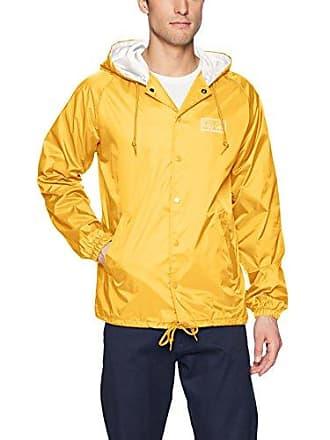 Obey Mens Eyes Hooded Nylon Coaches Jacket, Yellow, XXL