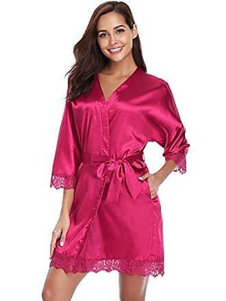 d6d69a1f6539c3 Aibrou Damen Einfarbige Spitze Satin Kimono Morgenmantel Kurz Robe  Nachtwäsche Sleepwear V Ausschnitt mit Gürtel Rot