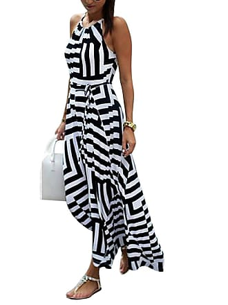 38a2f11fd34a Minetom Womens Sexy Summer Striped Sleeveless O Neck Elegant Evening Party  Beach Maxi Long dress (