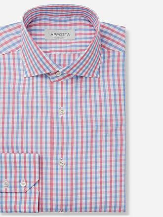 Apposta Shirt big checks multi 100% pure cotton poplin double twisted, collar style spread collar
