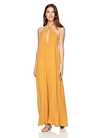 Mara Hoffman Womens Lucille Halter Cover Up Dress, Mustard, Medium