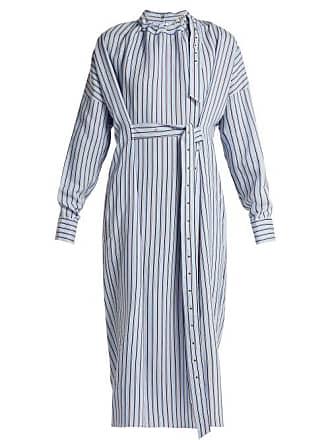 Tibi Belted Striped Dress - Womens - Blue Stripe