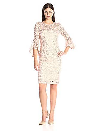 Marina Rossini Womens Bell Sleeve Sequin Lace Dress, Peach, 12