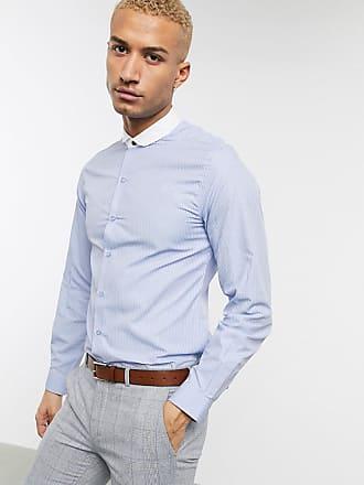 Men/'s Brave Soul a Righe Cotone Manica Corta Camicia Casual contrasto taschino