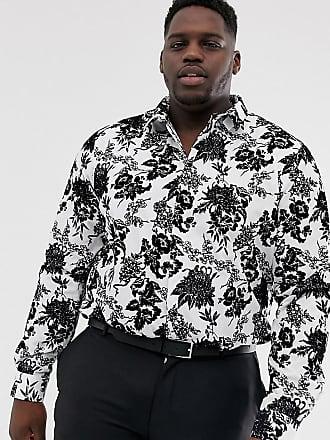Twisted Tailor Plus - Camicia super skinny floccata nera e bianca-Bianco