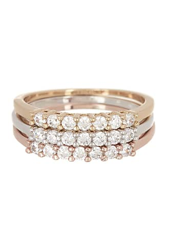 Nordstrom Rack Tri-Tone CZ Stackable Rings - Set of 3