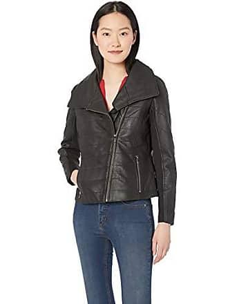 Badgley Mischka Womens Leather Biker Jacket with Envelope Collar, Black, Small