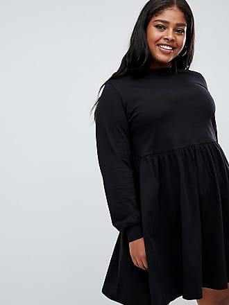 5ed4662b2140c Asos Curve ASOS DESIGN Curve - Robe babydoll en coton à manches longues -  Noir