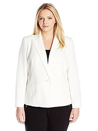 Kasper Womens Plus Size Stretch Crepe One Button Jacket, Vanilla Ice 14W