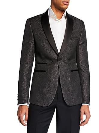 Neiman Marcus Mens Satin Shawl-Collar Jacquard Blazer, Black