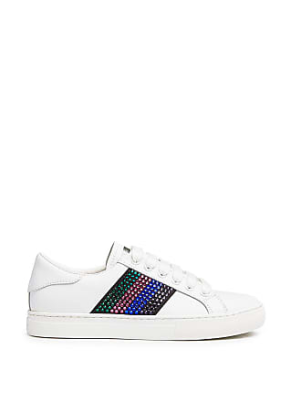 Marc Jacobs Calfskin Empire Strass Embellished Low Top Sneakers White/multi