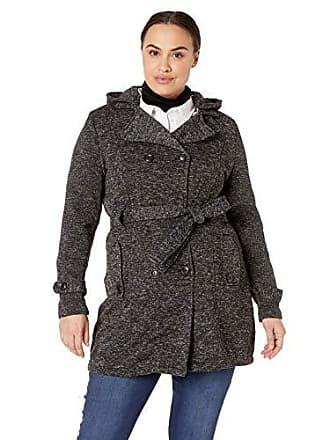 Yoki Womens Plus Size Double Breast Long Fleece Jacket, Black Sweater, 1X