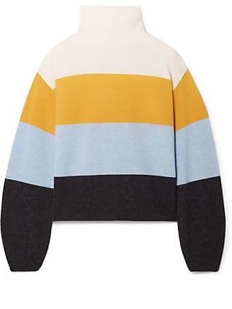 Veronica Beard Faber Oversized Striped Cashmere Turtleneck Sweater - Saffron