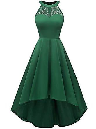 76bb8461004a6d Dresstells Damen 1950 Neckholder Vintage Retro Rockabilly Kleid mit  Spitzenoberteil Cocktail Petticoat Kleider Green 3XL