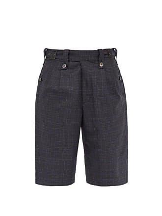Junya Watanabe Tropical Check Mid Rise Wool Shorts - Mens - Grey Multi
