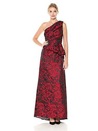 2ab78014ba4d Carmen Marc Valvo Womens One Shoulder Brocade Gown W/Side Peplum, red/Black
