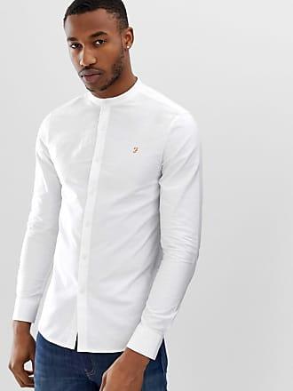 Farah Brewer - Schmales, weißes Hemd mit Grandad-Kragen