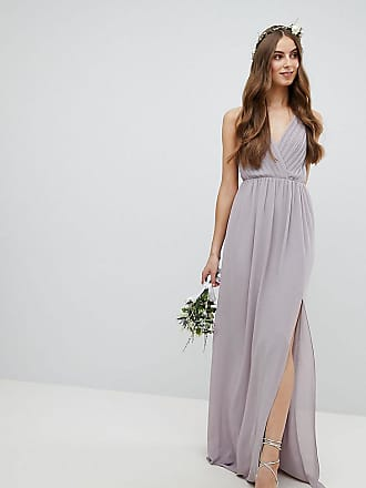 9e83184b32 Tfnc Tall Pleated Maxi Bridesmaid Dress With Back Detail - Gray