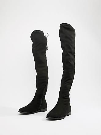 Asos Kaska - Flache Overknee-Stiefel mit Nieten in sehr weiter Passform -  Schwarz 44a8d97111