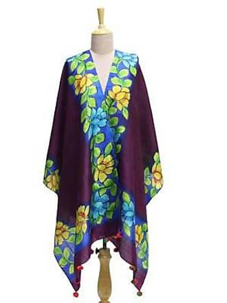Novica Silk shawl, Flower Home