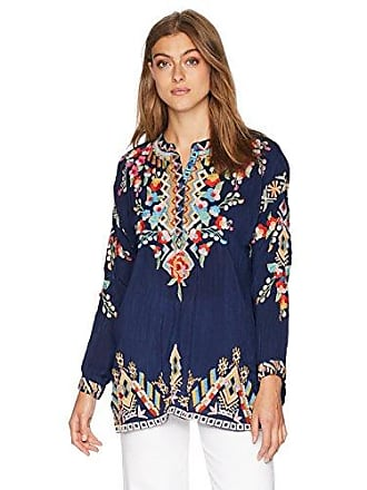 Johnny Was Womens Relaxed V-Neck Blouse with Multicolor Embroidery, Blue Night, M