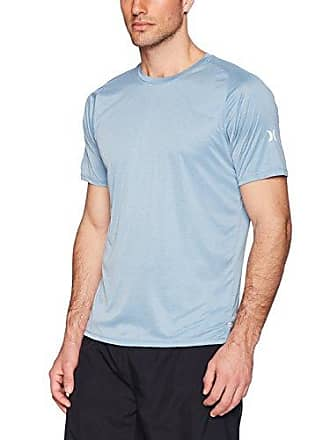Hurley Mens Nike Dri-Fit Short Sleeve Sun Protection +50 UPF Rashguard, Noise Aqua Heather, S