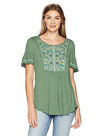 Oneworld Womens Short Sleeve Puff Print Keyhole Top, Blossom Borders/Juniper, Large