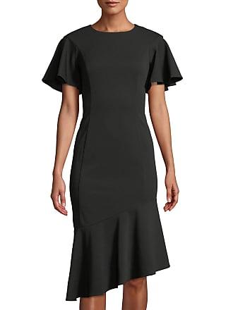 Iconic American Designer Ruffle Sleeve & Asymmetric Hem Sheath Dress