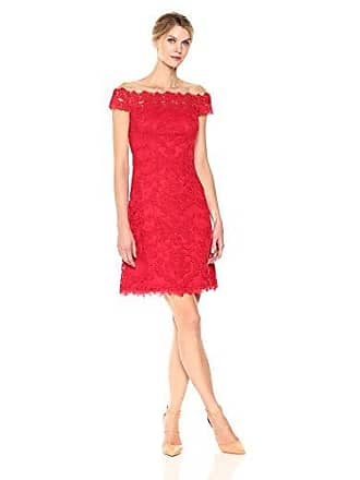 367696e3bfd3 Tadashi Shoji Womens Cap Sleeve Off The Shoulder Illusion Lace Dress