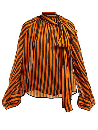 Petar Petrov Bride Striped Silk Pussybow Blouse - Womens - Black Orange