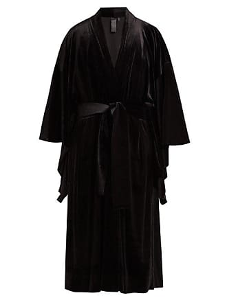 Norma Kamali Exaggerated Sleeve Velvet Robe - Womens - Black