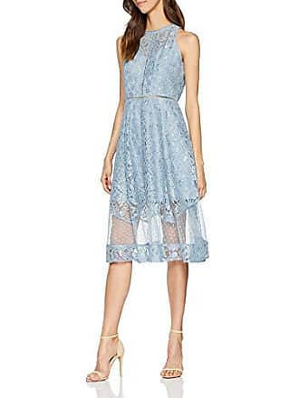 07dd60307866 Little Mistress Alexina Blue Lace Midi Dress Vestito da Sera Donna Blu Fog  001