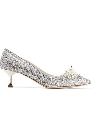 b2c182ae4fe6 Miu Miu Embellished Glittered Leather Pumps - Silver